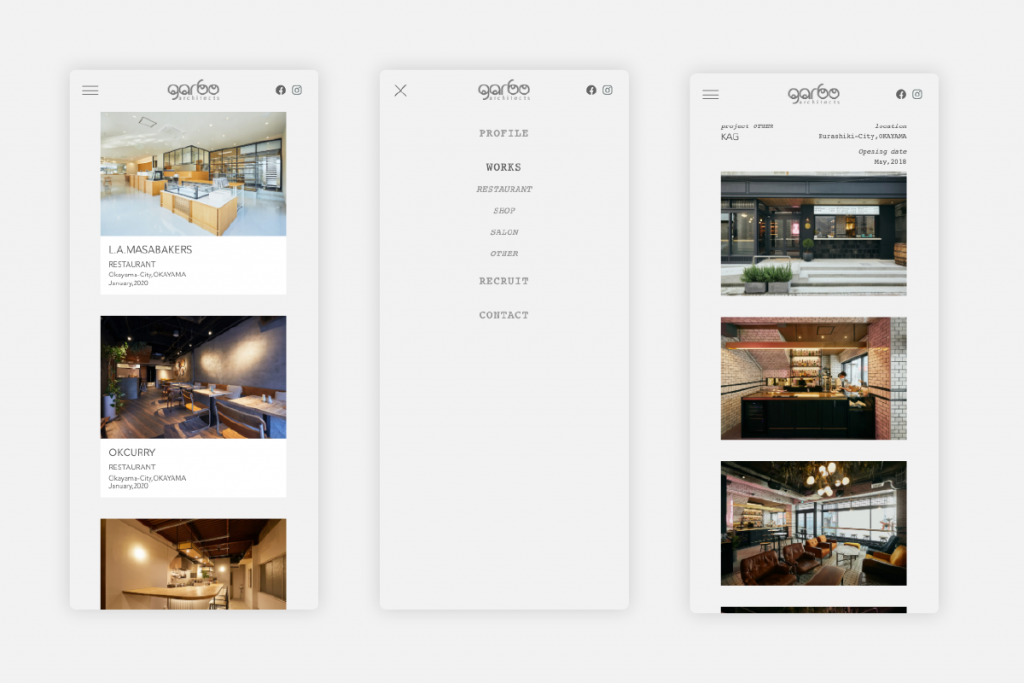 岡山市 garbo architects Webサイト(ホームページ)リニューアル後_スマートフォン表示時