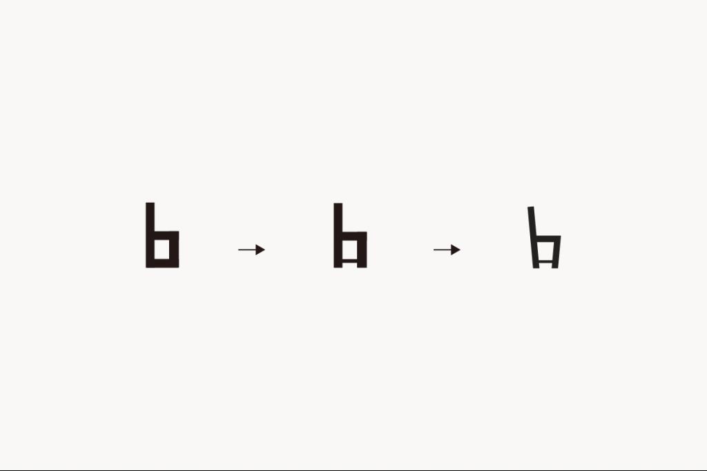 「b」から椅子へ、ロゴができるまでの図